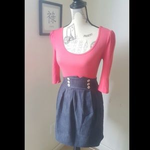 Dresses & Skirts - ** Pretty Coral and Denim Dress **